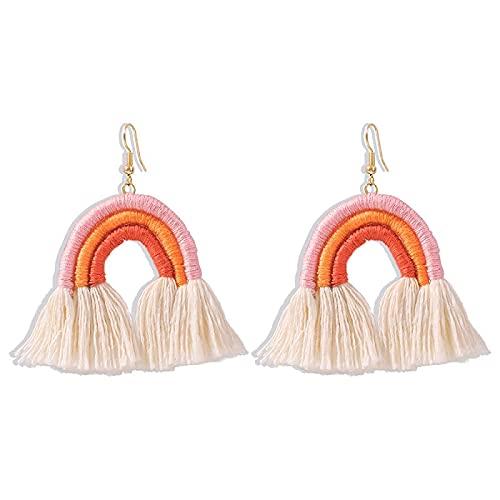 YANXIA Pendientes Colgantes con Borla Bohemia para Mujer, Pendientes con Flecos de Arcoíris para Boda, Elegantes Pendientes Decorativos, Rosa, Naranja