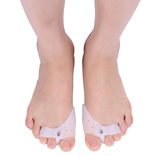 Separador de dedos de gel corrector de juanetes para alivio del dedo del pie de martillo, 2 pares de alisadores de dedos de silicona Hallux Valgus para hombres y mujeres, fácil de llevar en zapatos