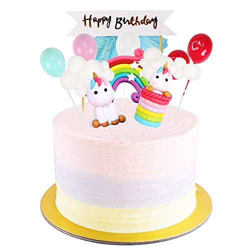 FOGAWA Cake Topper Unicornio 12pcs Decoracion Tarta Unicornio con Arcoiris Globos Nubes Tarjeta de Happy Birthday Kit de Decoracion Pasteles para Cumpleaños Boda Baby Shower Party