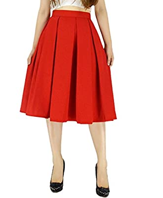 YSJERA Women's Vintage Pleated Midi Skirts - A-Line High Waist Swing Flared Skirts