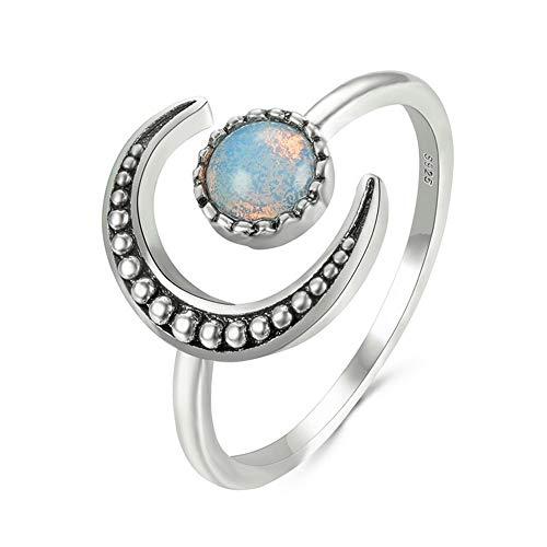 Anillo abierto de plata de ley con diseño de luna y estrella, anillo ajustable, regalo para mujeres y niñas, regalo de San Valentín, regalo para ella