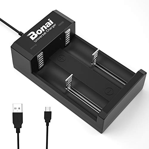 BONAI Cargador 18650 Batería para Pilas AA AAA C D Ni-MH Ni-CD, Li-Ion 18650 18500 18350 17650 17670 17500 16340 (RCR123) 22650 25500 22700 Baterías (Cargador USB de 2 Ranuras)
