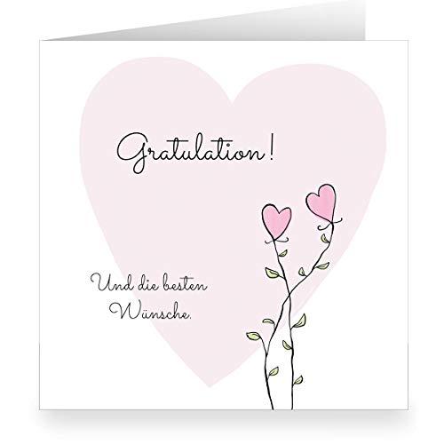 41GrXiTR3GL - 12x Romantische Glückwunschkarte zur Hochzeit mit Herz Blumen: die besten Wünsche. • quadratisch • schöne Hochzeitskarten im Set mit Umschlägen für Braut und Bräutigam zum Bund des Lebens