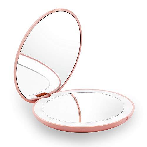 Gianic Miroir de maquillage compact, grossissant 1X/10X et éclairage LED pour sac à main, miroir de poche pliable et éclairé (rose)