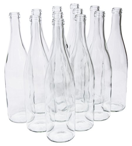 North Mountain Supply 750ml Glass California Hock Wine Bottle Flat-Bottomed Cork Finish - Case of 12 (750ml Clear/Flint)