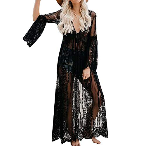 Vestido de Bikini Bordado para Mujer Transparente Ropa de Baño Playa con la Manga Suelta de Moda Traje de Baño Verano para Bikini Camisolas Larga etc (Negro, L)