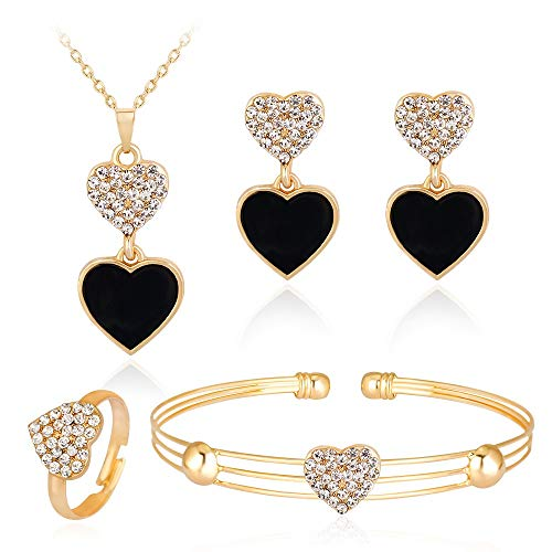 Sfqryp Koreanska versionen av den nya heta halsen smycken smycken set mode utsökta legering inlaid persika hjärta halsband öron ring armband ring fyra-bitars uppsättning (Color : A)
