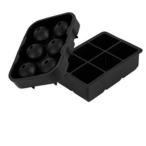 FUKIPRO 2er Set Silikoneiswürfelformen für 6 Eiskugeln und 6 Eiswürfel, wiederverwendbar und BPA-frei