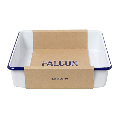 Falcon Enamelware - Teglia da forno quadrata smaltata, colore: bianco con bordo blu