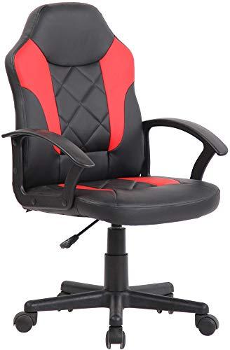 CLP Kinder Bürostuhl Tafo I Höhenverstellbarer Schreibtischstuhl Mit Armlehnen I Drehstuhl Mit Leichtlaufrollen, Farbe:schwarz/rot