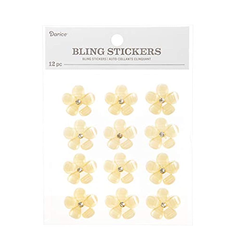 Darice 30053561 23mm Flower with Rhinestone Center 12 Piece Bling Stickers, Ivory