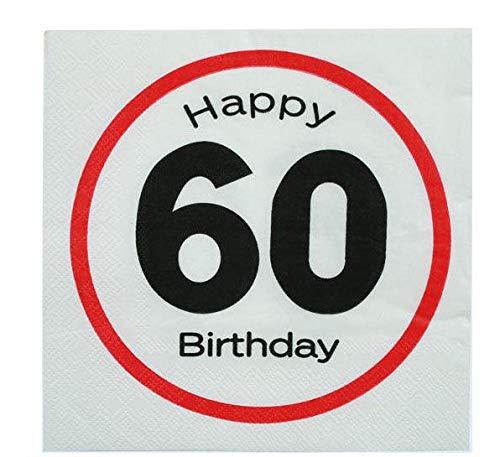 20 Tovaglioli Carta Happy Birthday (60 Anni)