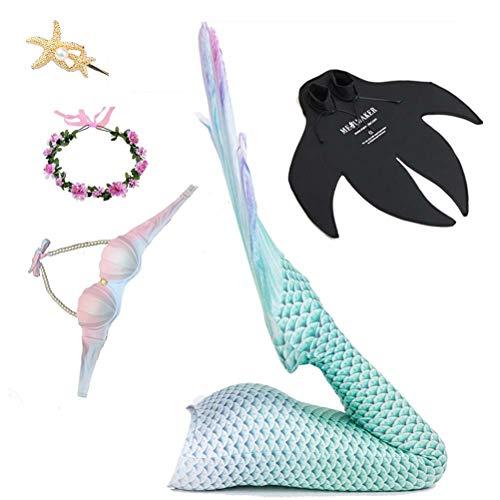 Traje De Baño Dividido Sirena, Traje De Baño De Cola De Sirena para Adultos, Traje De Bikini Princesa, Adecuado para Playa/Piscina/Fiesta,Natural,S