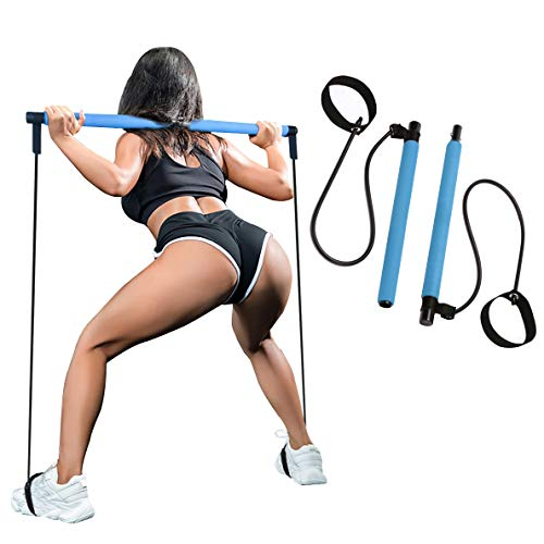 SIYWINA Tragbares Pilates Bar Kit Yoga Pilates Stick mit Widerstandsband Resistance Band Bewegung Pilatesstangen-Set