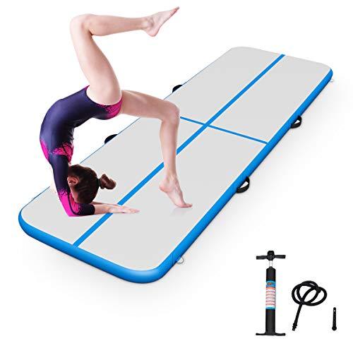 GOPLUS Air Track Tumbling Matte aufblasbare Gymnastikmatte Yogamatte Trainingsmatten Weichbodenmatte Turnmatte Fitnessmatte mit Pumpe tragbar Farbwahl 300/400x100x10cm (Blau, 400x100x10cm)