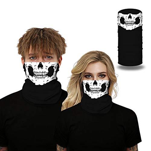 IYOU Cagoule de sport avec motif tête de mort - Noir - Multifonction - Pour homme et femme