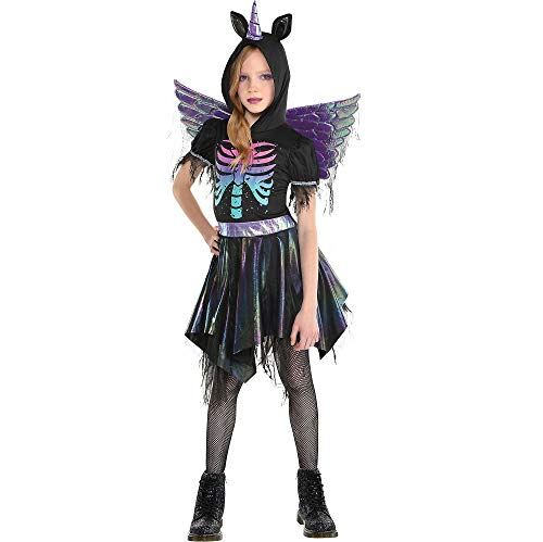 Party City Zombie Unicorn Halloween costume for Girls, Medium (8-10), Includes Hooded Dress and Wings