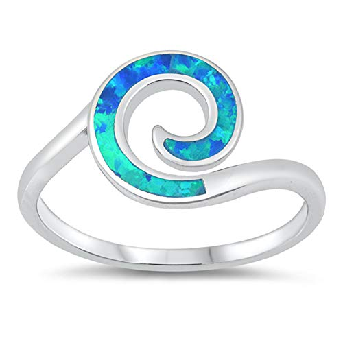Blue Simulated Opal Celtic Wave Swirl Classic Ring New .925 Sterling Silver Band Size 9