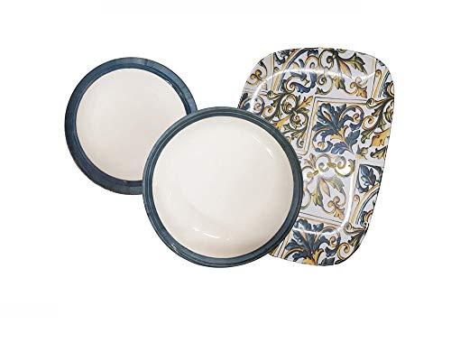 REPLOOD Servicio de platos de 18 piezas para 6 personas de porcelana modelo Maiolica