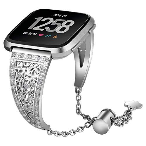 Angersi Correa de Pulsera de Repuesto de Metal de Acero Inoxidable con Diamante Compatible con Fitbit Versa Lite/ versa2