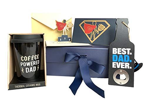 Caja única de regalo para el día del padre – regalo para papá/padre/hombres/abuelo– regalos increíbles para el mejor padre/hombre en casa. Taza de viaje para papá, abrebotellas de cerveza, superhéroe en 3D.