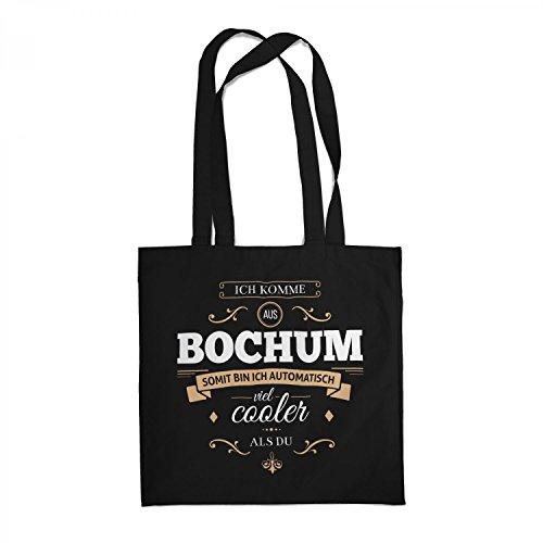 Fashionalarm Stoffbeutel - Ich komme aus Bochum - Bin viel Cooler als du | Beutel Baumwolltasche mit Spruch als Geschenk Idee für stolze Bochumer, Farbe:schwarz