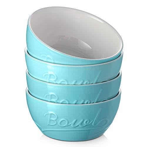 DOWAN Porcelain Cereal Bowls, 27 Ounces Soup Bowls, Ceramic Bowls for Rice Pasta Salad Oatmeal, Chip Resistant, Bowls for Kitchen - Set of 4, Dishwasher & Microwave Safe, Turquoise
