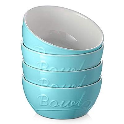 DOWAN Porcelain Cereal Bowls, 27 Ounces Soup Bo...