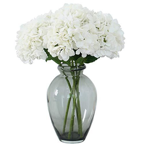 FagusHome 6 Piezas Hortensia Artificiales de Flores Artificiales con Tallos Flores Falsas para Decoración (Blanco)