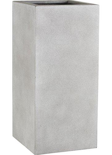 Esteras 8519733387 Blumenkübel rechteckig für den Garten, Beton-Optik, 37 x 37 x 87 cm, Fiberglas, Beton Warm, Wells
