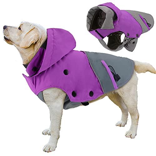 PETLOFT Dog Winter Jacket, Reflective Waterproof Dog Winter Coat Windproof Warm Outdoor Fleece Winter Dog Jacket with Detachable Fleece Lining (XS, Purple)