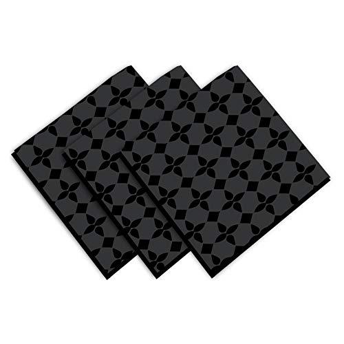 Soleil d'ocre Damier Serviette de Table, Coton, Noir, 45 x 45 cm