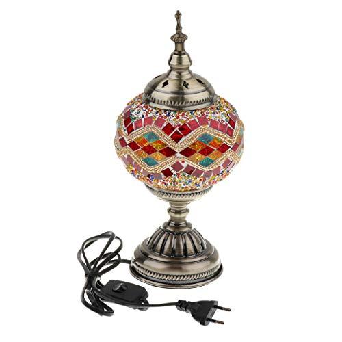 Homyl Lámpara de Mesa Mosaico Turco Hecha Mano de Estilo Marroquí Mesa de Noche - Estilo 4