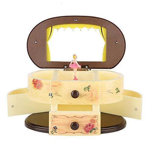 Phisscii Spieluhr, Ballerina, Spieluhr, Schmuckbox, Aufbewahrungsbox mit Spiegel für Mädchen (cremefarben)