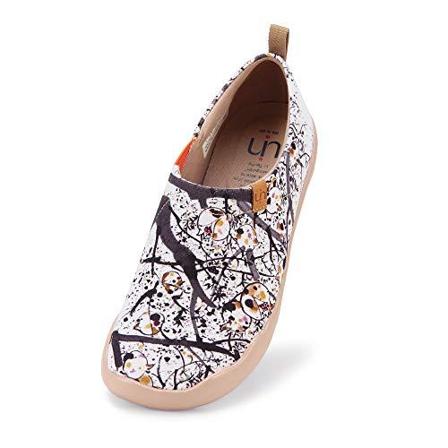UIN Canvas Schuhe Damen Slip On, Modell Art Bemalte Granatapfel, Weiß (41)