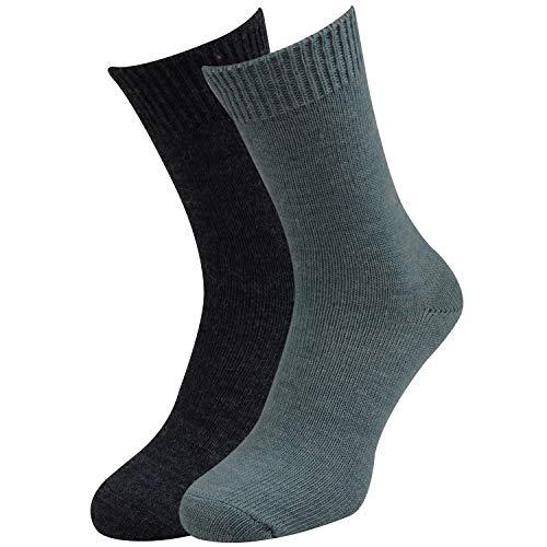Qano Damen 2054-1 Socken mit Wolle 2er Pack (39-42 EU, Blau)