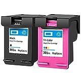 LTZC Cartucho de Tinta Compatible HP 301XL de Repuesto, configurado para HP Dskjet 2512 2514 2540 2543 2544 2548 2549 | Rendimiento de impresión: 600 páginas (Negro) y 450 páginas (Colores)-Set
