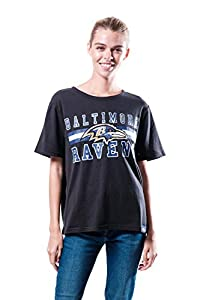 Ultra Game NFL Baltimore Ravens Womenss Distressed Graphics Soft Crew Neck Tee Shirt, Team Color, X-Large