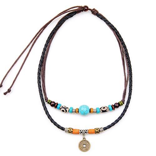 niumanery Vintage Necklace Ancient Tribe Man Hemp Leather Turquoise Bead Choker