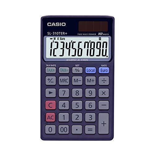 CASIO Taschenrechner SL-310TER+, 10-stellig, Steuerberechnung, Währungsumrechnung, Solar-/Batteriebetrieb
