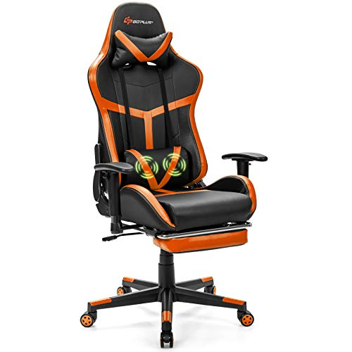 POWERSTONE Gaming Chair - Racing Chair with Massage Lumbar Support and Footrest - Computer Gaming Chair Office Chair PU Leather Ergonomic Headrest High-Back Recliner Swivel Chair, Orange