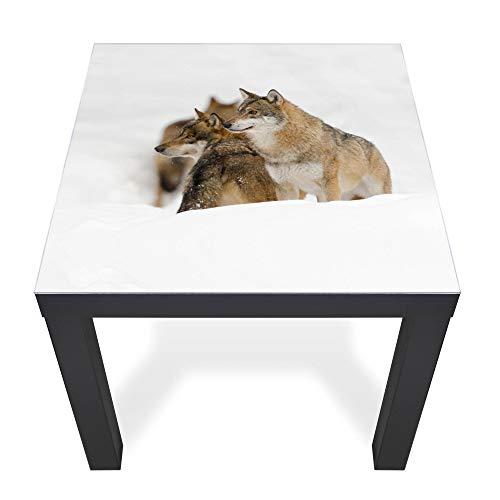 banjado Glasplatte für IKEA Lack Tisch 55x55cm | Abdeckplatte aus Sicherheitsglas | Motiv Wölfe | Tischplatte für Beistelltisch, Couchtisch schwarz Glasplatte & Tisch