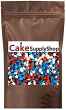 CakeSupplyShop Patriotic 4th of July Independence Day Memorial Day Red White & Blue Edible Sugar Star Sprinkles for Cakes and Cupcakes 4 oz