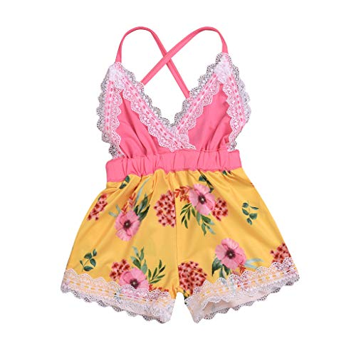 Moneycom - Conjunto de ropa para bebé o niña, diseño de flores, color amarillo amarillo 12-18 Meses