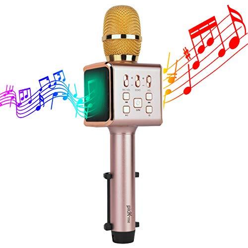picK-me Micrófono Inalámbrico de Karaoke, Máquina de Altavoz Portátil Inalámbrico de Micrófono Inalámbrico de Karaoke, Compatible para Android/iPhone/PC/TV, etc (Dorado)