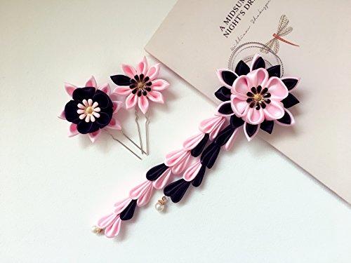 Pelo kanzashi flores. Juego de 3piezas. Color rosa y negro. kanzashi Hair Pins y pelo. Japonés Geisha Clip de pelo adornos