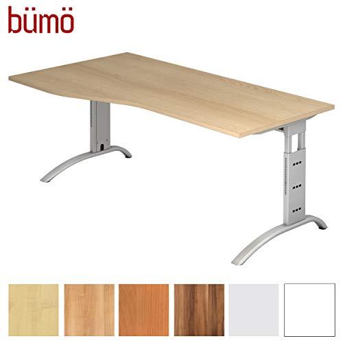 bümö® Schreibtisch höhenverstellbar | Büroschreibtisch Profiqualität | Bürotisch in 6 Dekoren & 9 Längen verfügbar (Eiche, Freiform: 180x100 cm)