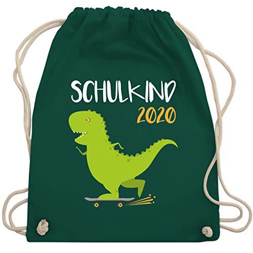 Einschulung und Schulanfang - Schulkind 2020 - Dino mit Skateboard - Unisize - Dunkelgrün - skateboard bag - WM110 - Turnbeutel und Stoffbeutel aus Baumwolle