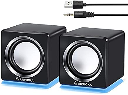 ARVICKA Computer Speaker, LED Accents USB Speaker Small Mighty Solid Wired Multimedia Speaker for PC Monitor Desktop Laptop Gaming Smartphones Tablets Projectors TVs, Black