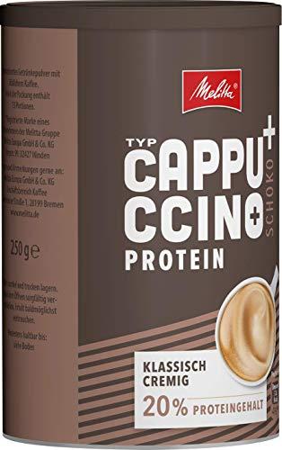 Melitta High Protein Cappuccino, koffeinhaltiges Getränkepulver, schoko cremig mit Protein, 250 g